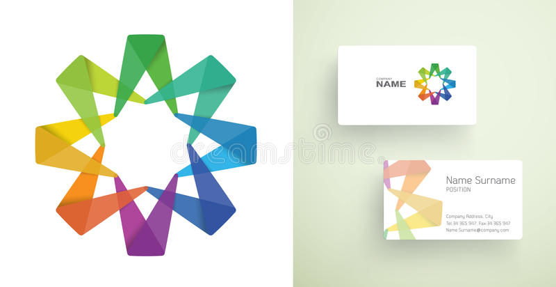 与抽象五颜六色的元素的名片。 向量例证