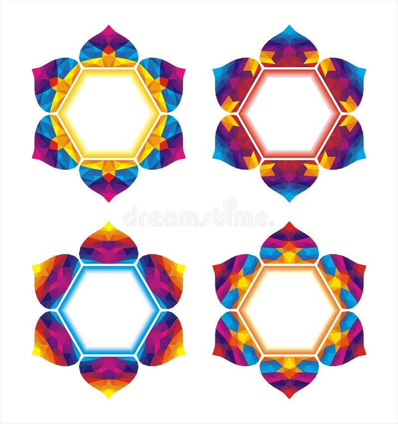 与抽象五颜六色的形状的坛场 皇族释放例证