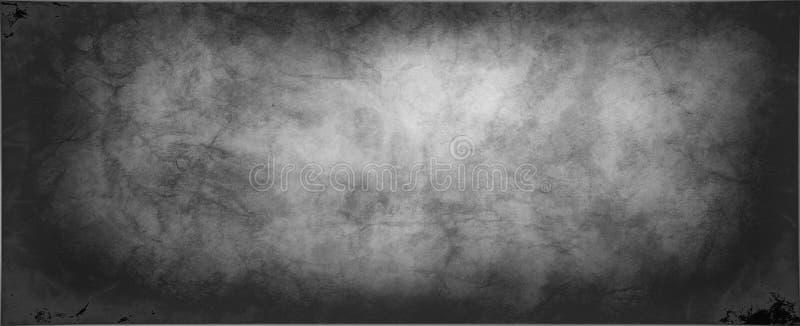 与抽象使有大理石花纹的纹理设计的黑白背景与破旧的年迈的镇压和压皱纸线在老粒状textu 向量例证