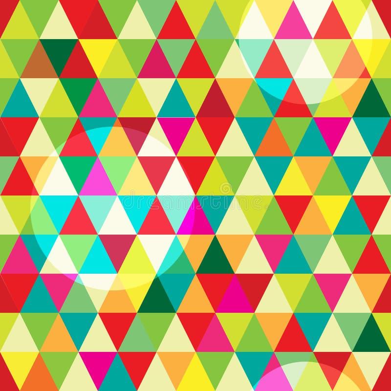 与抽象几何五颜六色的三角和圈子的高分辨率无缝的样式 库存例证