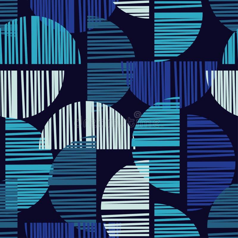 与抽象几何样式的无缝的背景 抽象数字式小故障图表 库存例证