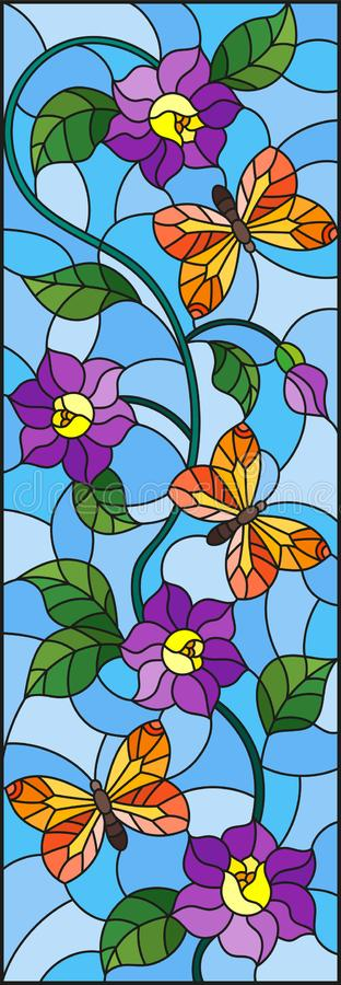 与抽象卷曲紫色花和橙色蝴蝶的彩色玻璃例证在蓝色背景,垂直的图象 皇族释放例证