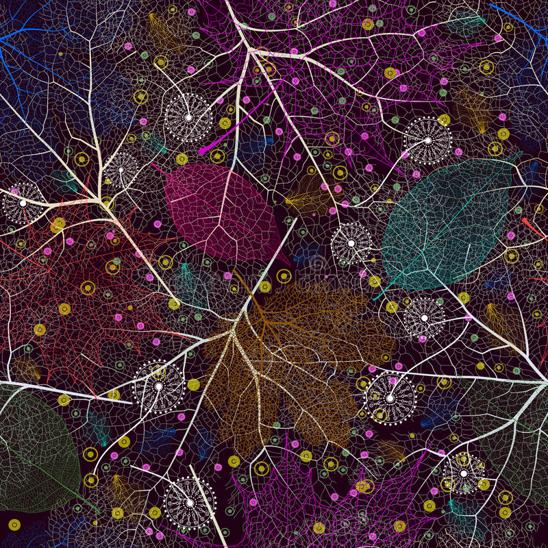 与抽象叶子的无缝的样式 皇族释放例证