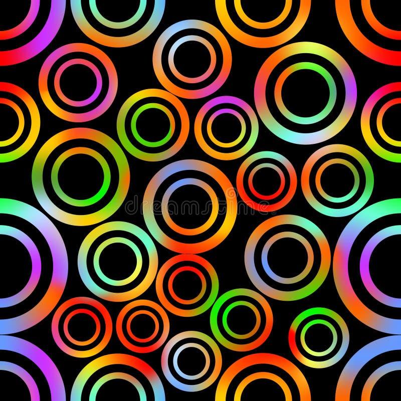 与抽象同心圆的无缝的背景在生动的彩虹颜色塑造 库存例证