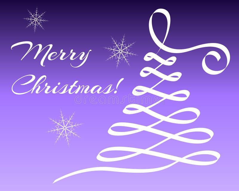 与抽象圣诞树和雪花的贺卡 免版税库存照片