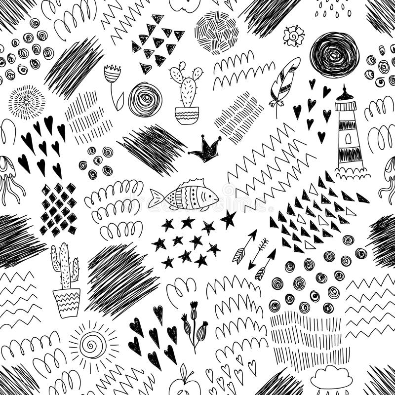 与抽象墨水元素和乱画的黑白无缝的样式 皇族释放例证