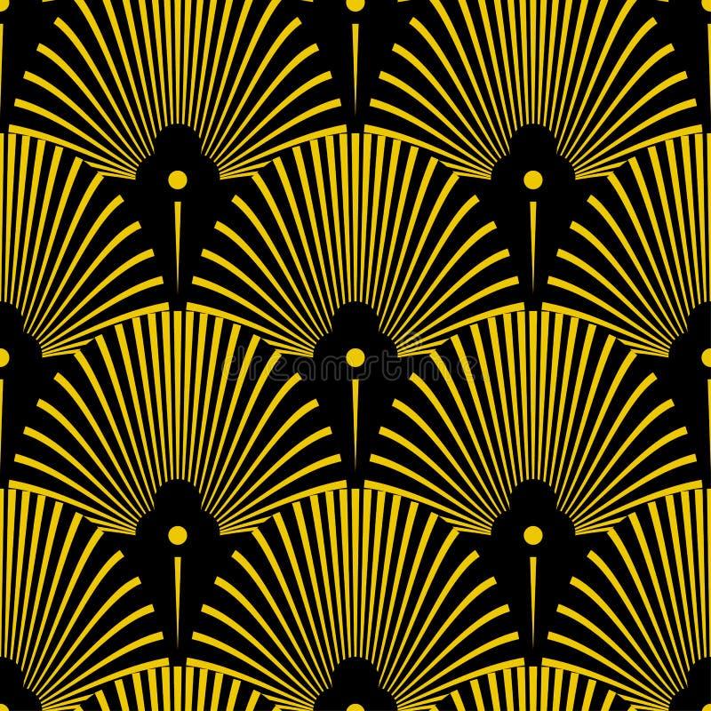 与抽象壳的无缝的金黄艺术装饰样式 传染媒介在葡萄酒样式的时尚背景 库存例证
