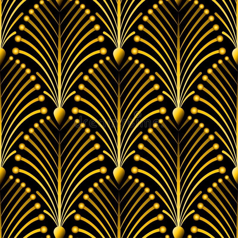 与抽象壳的无缝的金黄艺术装饰样式 传染媒介在葡萄酒样式的时尚背景 向量例证