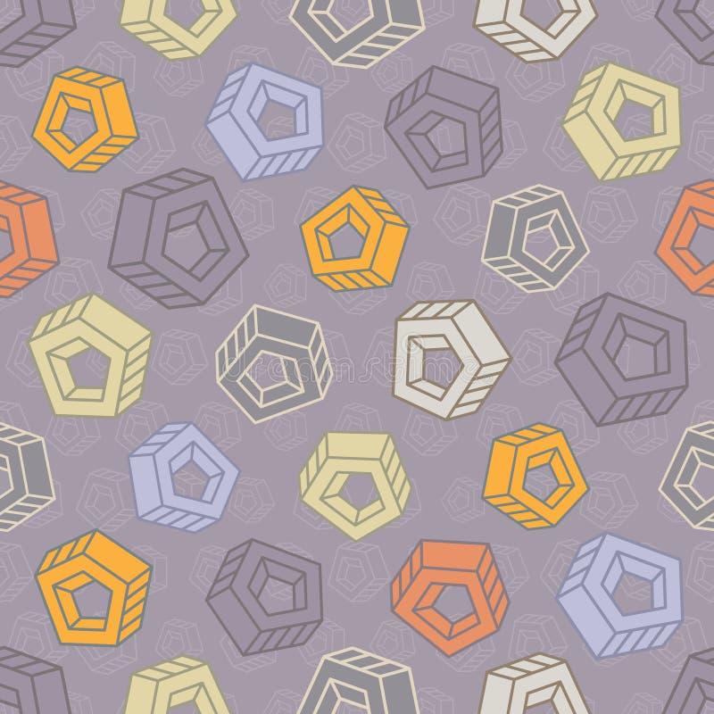 与抽象多彩多姿的螺丝坚果的无缝的样式 皇族释放例证