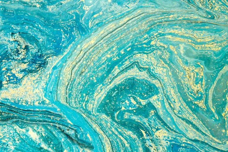 与抽象大理石绘画的现代艺术品 混杂的蓝色和黄色油漆 水表面上的丙烯酸漆 水平 皇族释放例证