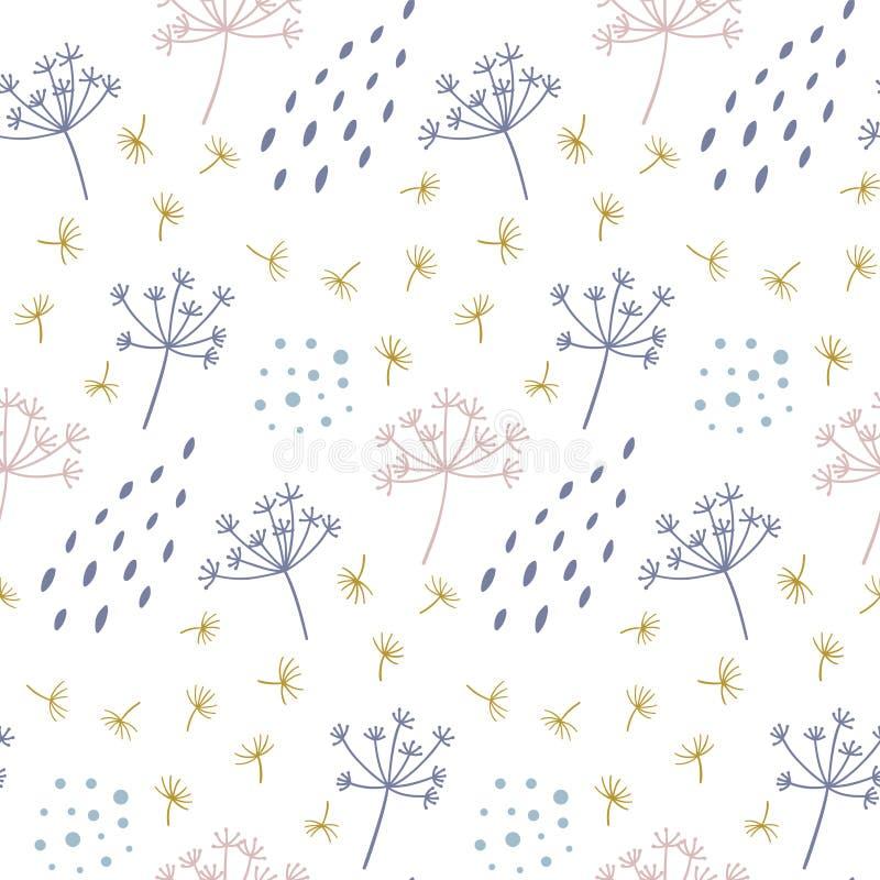 与抽象小点和形状的现代无缝的花卉样式 向量例证