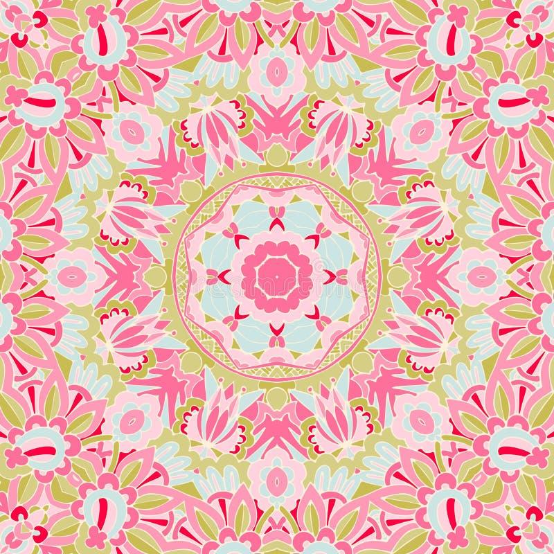 与抽象幻想花的无缝的桃红色花卉背景 皇族释放例证