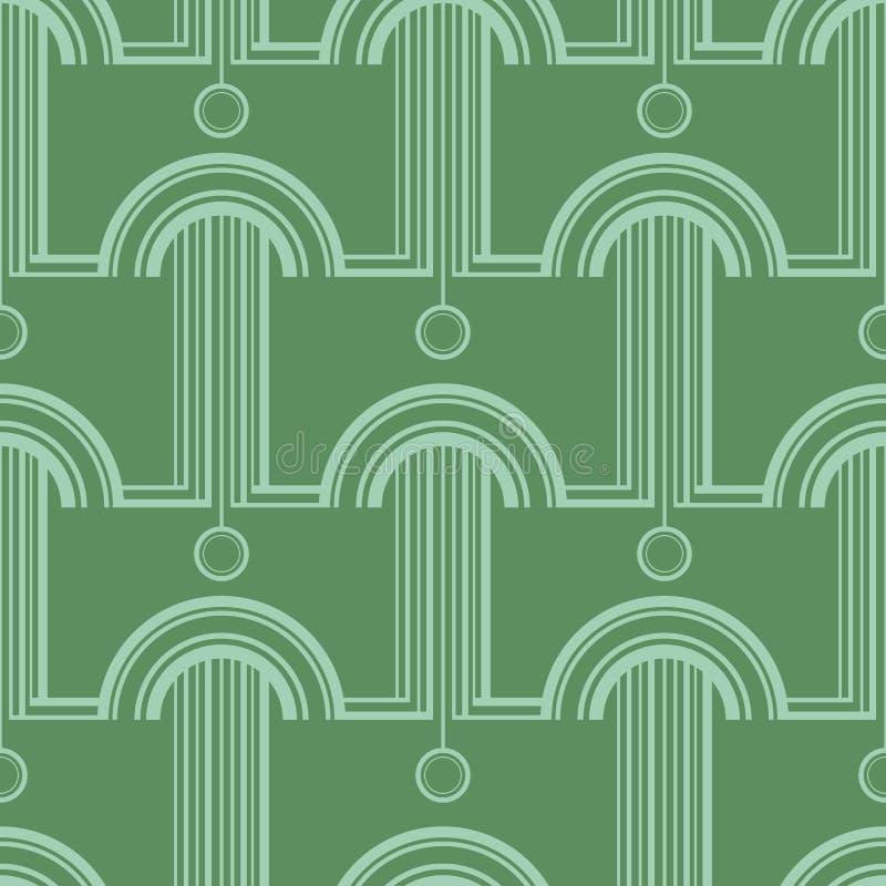 与抽象建筑形式的样式 纺织品的,印刷品,墙纸,包装纸,网装饰传染媒介无缝的样式 库存例证