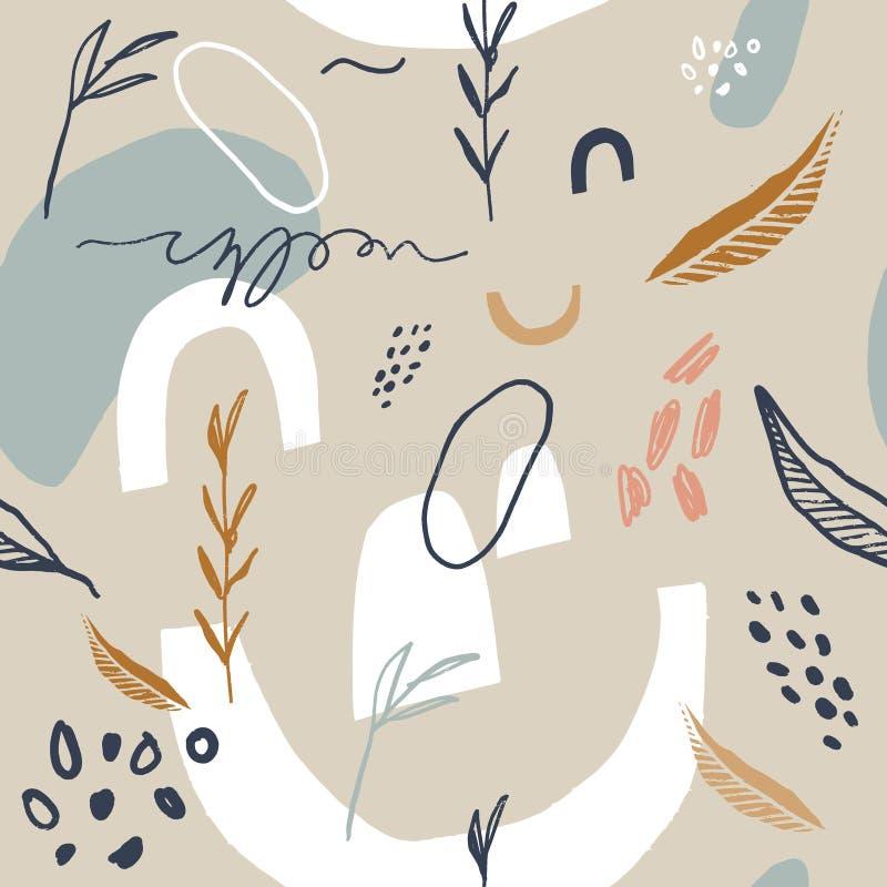 与抽象形状的抽象春天或夏天无缝的样式和叶子在轻的淡色灰棕色和白色背景中 向量例证