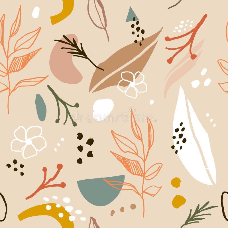 与抽象形状的抽象春天或夏天无缝的样式和叶子在轻的淡色灰棕色和白色背景中 皇族释放例证