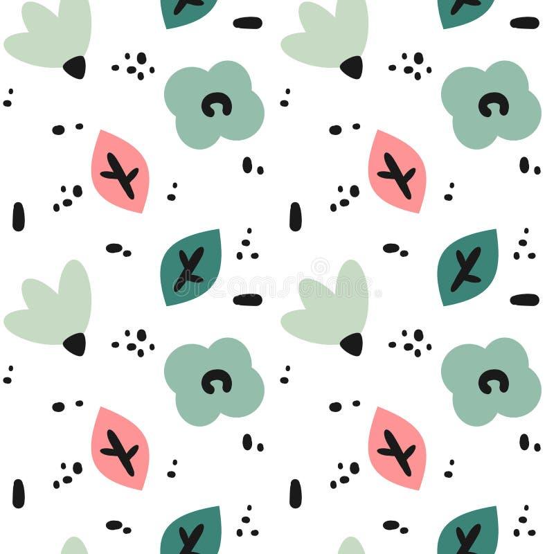 与抽象手拉的花、叶子和黑形状的逗人喜爱的现代无缝的传染媒介样式背景例证 向量例证