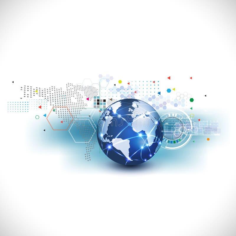 与抽象未来派图表模板的世界通信技术和企业概念的,传染媒介 库存例证