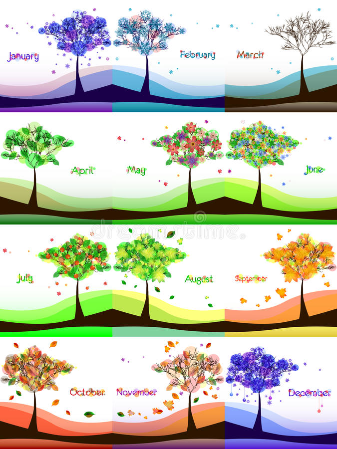 与抽象树的日历设计在草甸 库存例证