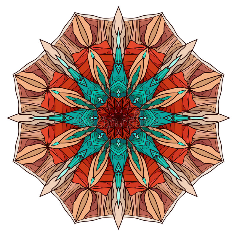 与抽象样式的圆的着色坛场 向量例证