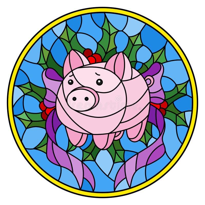 与抽象桃红色存钱罐和霍莉的彩色玻璃例证在蓝色背景,圆的图象分支 皇族释放例证