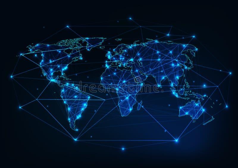 与抽象框架由线,小点,星,三角做成和围拢的大陆概述的世界地图滤网 皇族释放例证