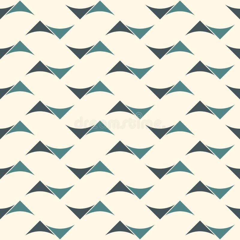 与抽象波浪的无缝的表面样式 与几何形式的当代印刷品 与三角的现代装饰品 皇族释放例证