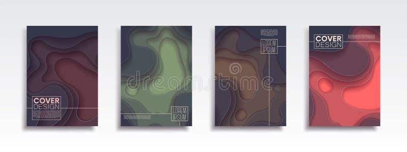 与抽象波浪的最小的传染媒介封面设计集合 传染媒介横幅介绍、飞行物、海报和invitatio的设计版面 向量例证