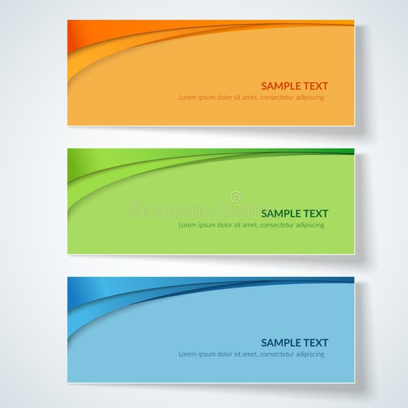 与抽象波浪线在一个色的背景创造性的卡片模板设计元素广告的桔子蓝绿色弯曲的线的卡片 皇族释放例证