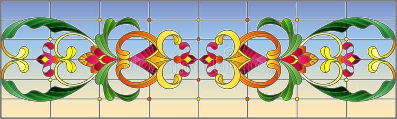 与抽象漩涡、花和叶子的彩色玻璃例证在天空背景,水平的取向 皇族释放例证