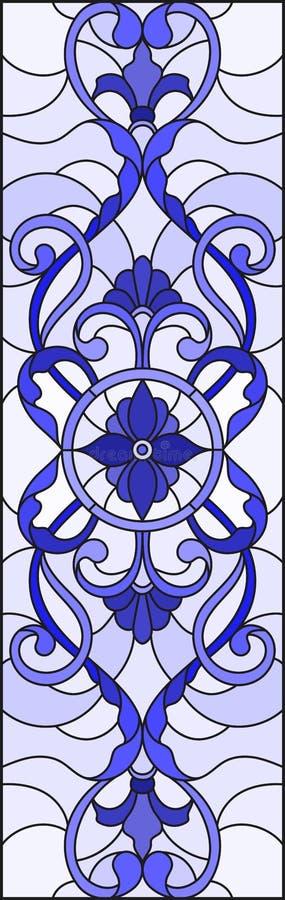 与抽象漩涡、花和叶子的彩色玻璃例证在轻的背景,垂直的取向伽玛蓝色 库存例证