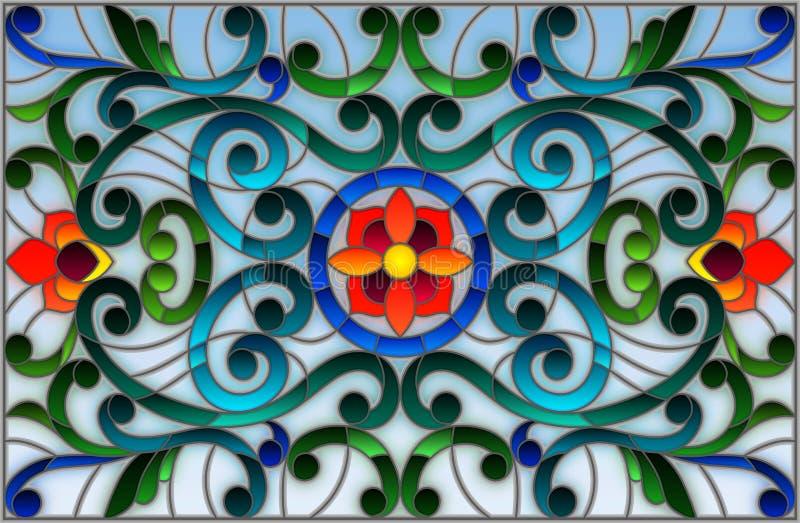 与抽象漩涡、花和叶子的彩色玻璃例证在轻的背景,水平的取向 向量例证