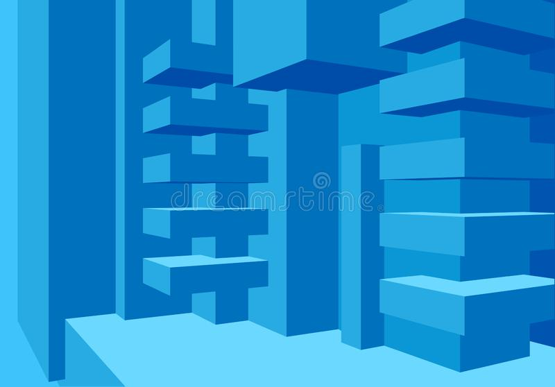 与抽象立方体构成和干净的minimalistic样式的建筑学背景 皇族释放例证