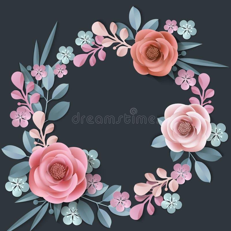 与抽象纸花花圈的夏天背景,花卉背景,空白的圆的框架,贺卡模板 库存例证