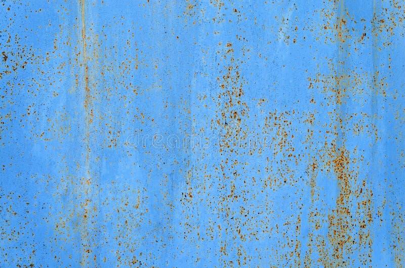 与抽象纹理的蓝色生锈的金属背景 老葡萄酒 图库摄影