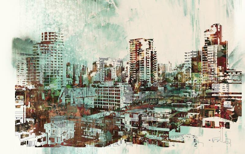 与抽象纹理的都市风景 库存例证
