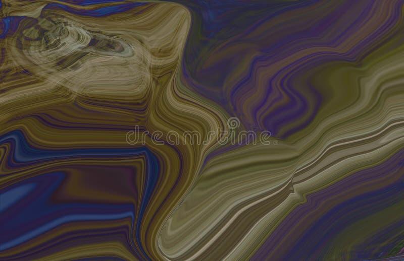 与抽象线的深蓝,绿色背景 与梯度的一个隐晦的弯曲形的抽象例证 新的构成fo 皇族释放例证