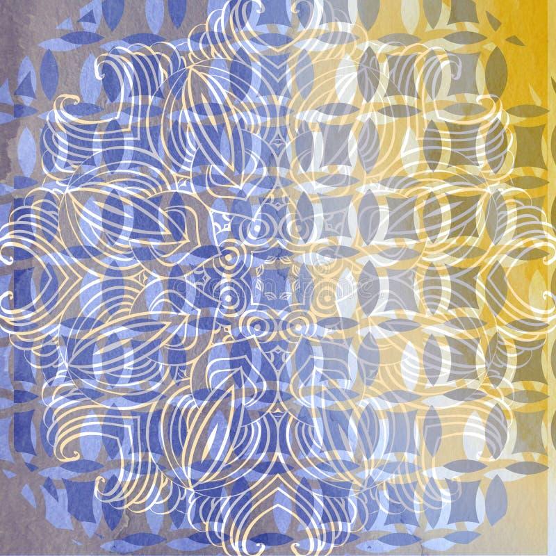 与抽象细节的装饰抽象水彩背景 库存例证
