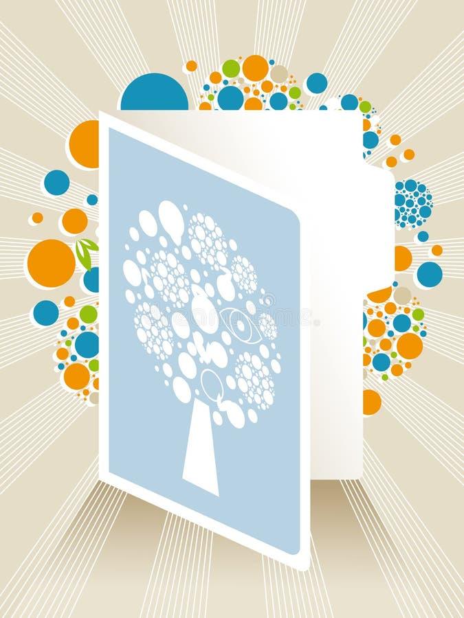 与抽象结构树的贺卡例证 免版税库存图片