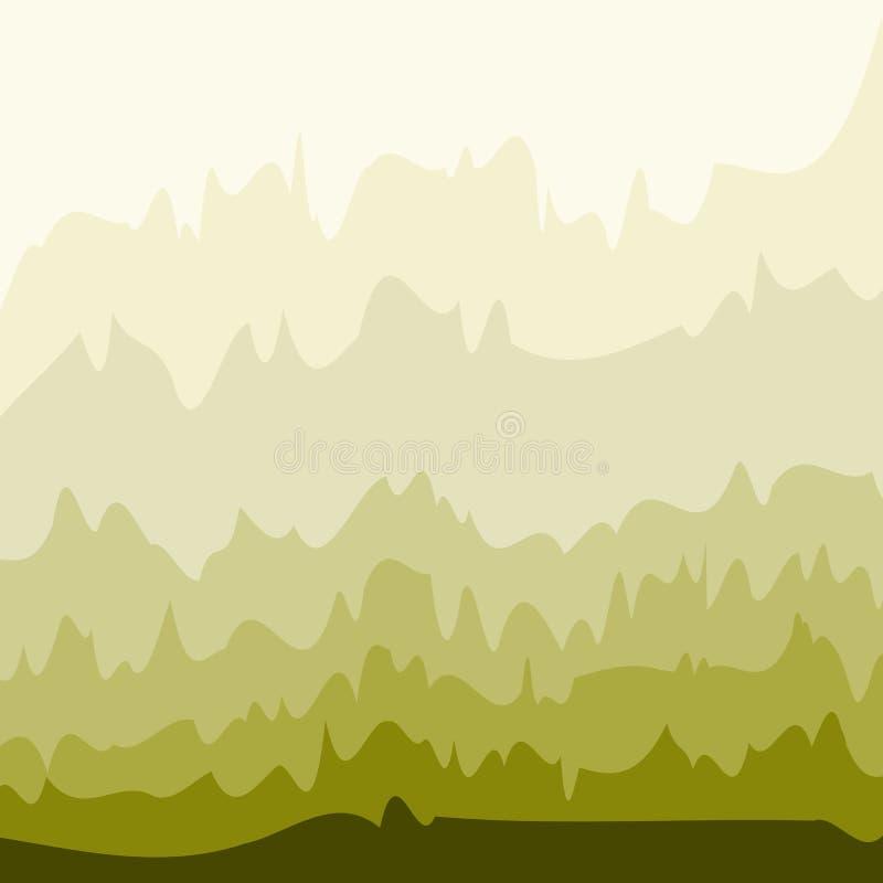 与抽象绿色波浪的典雅的框架 向量例证