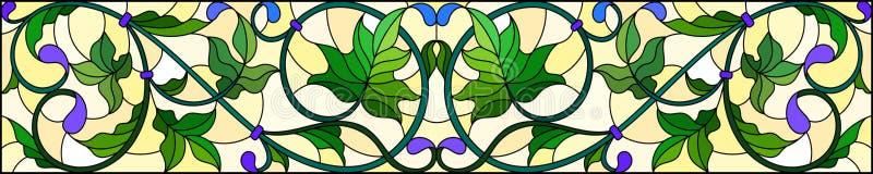 与抽象绿色漩涡和叶子的彩色玻璃例证在黄色背景,水平的取向 皇族释放例证