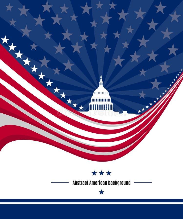 与抽象美国旗子和白色房子的爱国美国背景 向量 向量例证