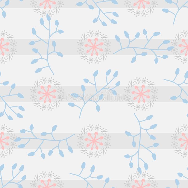 与抽象花卉元素的无缝的样式在镶边背景 皇族释放例证