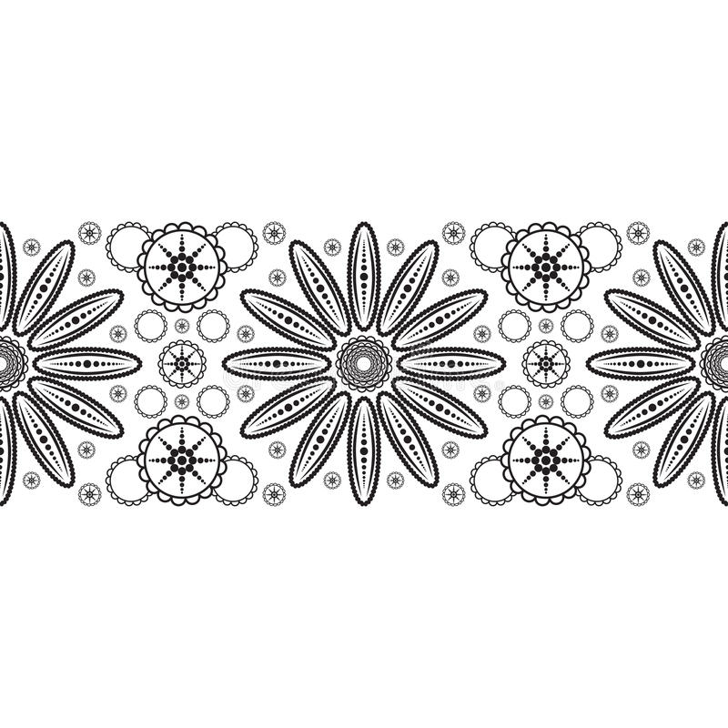与抽象花的无缝的丝带 向量例证