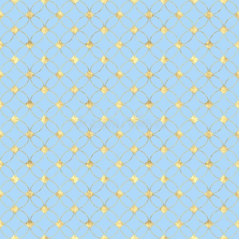 与抽象葡萄酒金子闪烁样式的无缝的淡色蓝色背景 向量例证