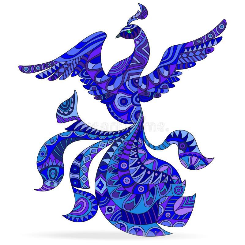 与抽象蓝色的例证仿造了飞行在白色背景,孤立的孔雀鸟 向量例证