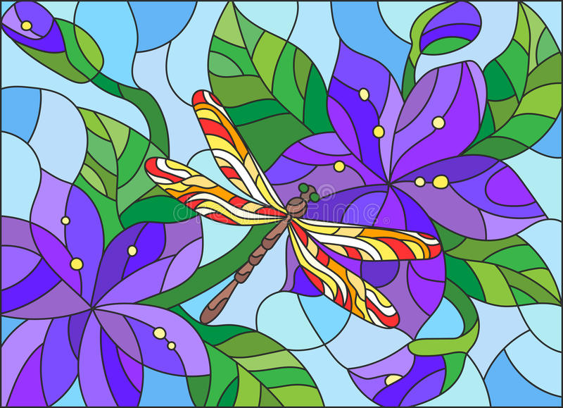 与抽象蓝色花和蜻蜓的彩色玻璃例证 库存例证