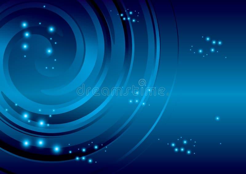 与抽象螺旋的深蓝背景 向量例证
