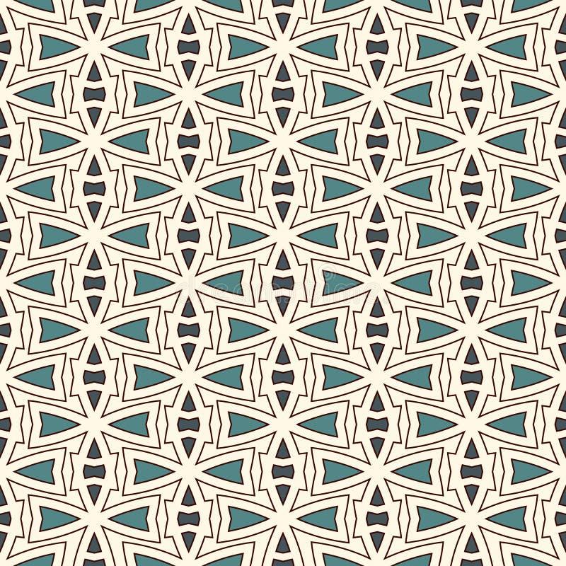 与抽象装饰品的概述无缝的样式 种族主题 重复的几何图墙纸 现代表面 库存例证