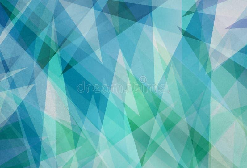 与抽象角度和三角层数的蓝绿色背景在抽象几何样式 向量例证