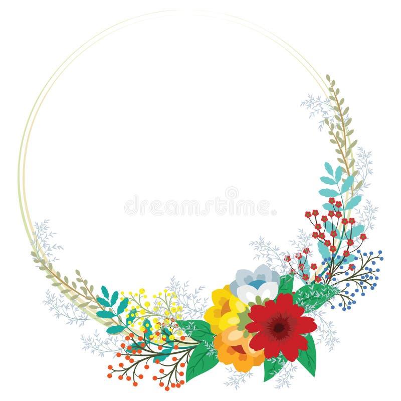 与抽象逗人喜爱的花的花卉邀请框架在葡萄酒 向量例证